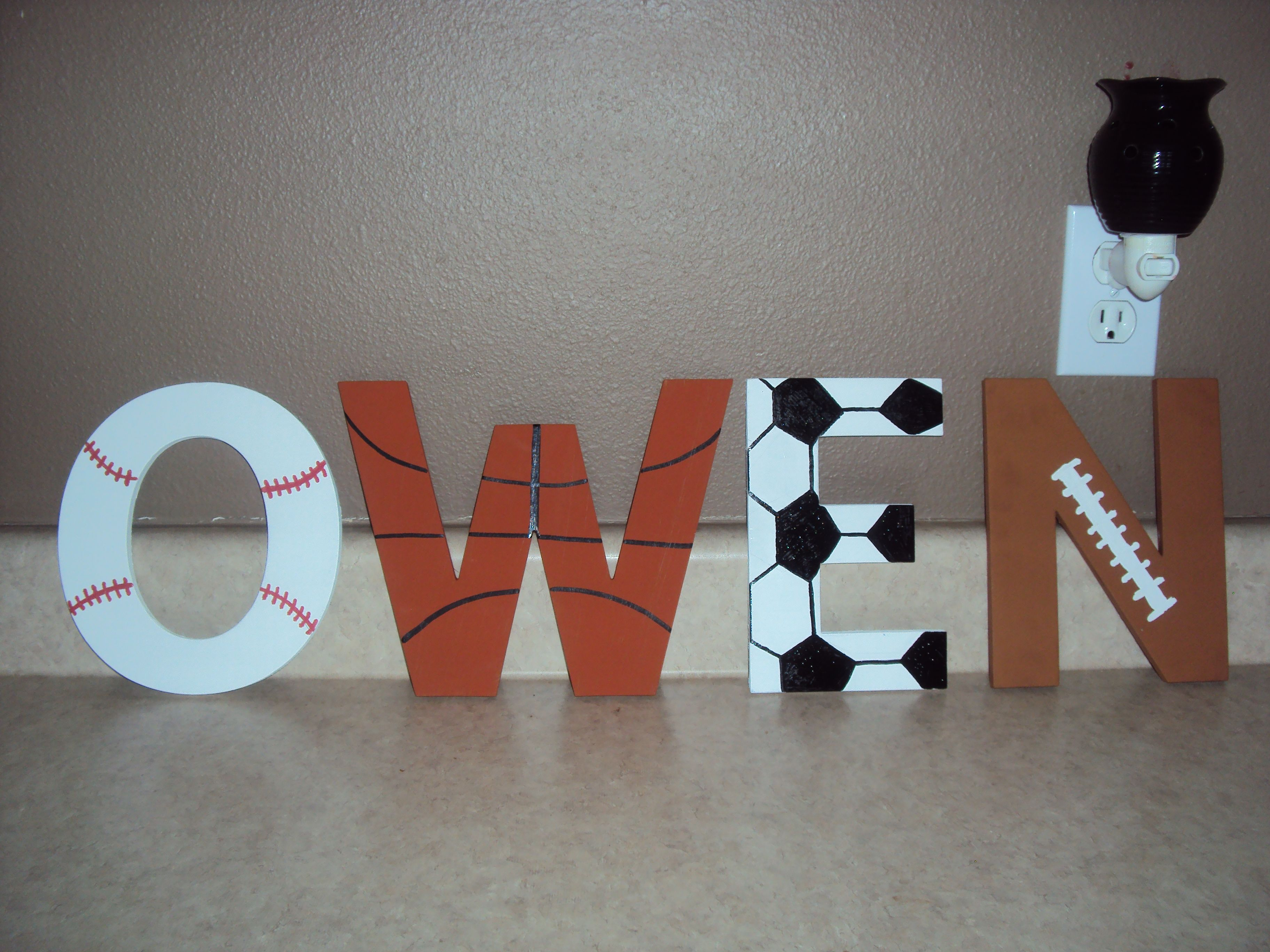 Owen S Name Wood Letters Painted In A Sports Theme Kids