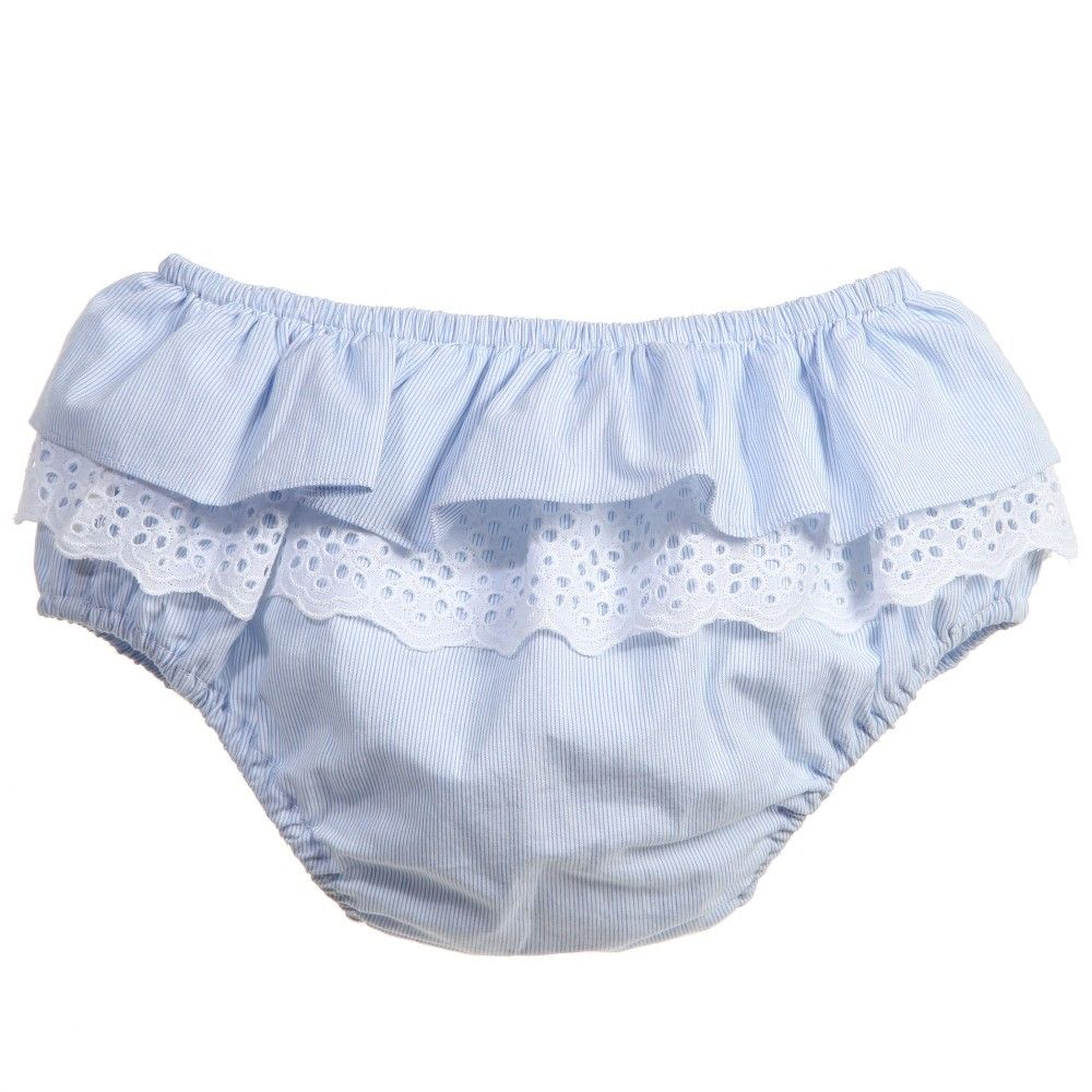 57472334e Nanos adorable baby girls pale blue and white frilly pants made from a  soft, lightweight cotton poplin with gorgeous b<span>roderie anglaise trim.