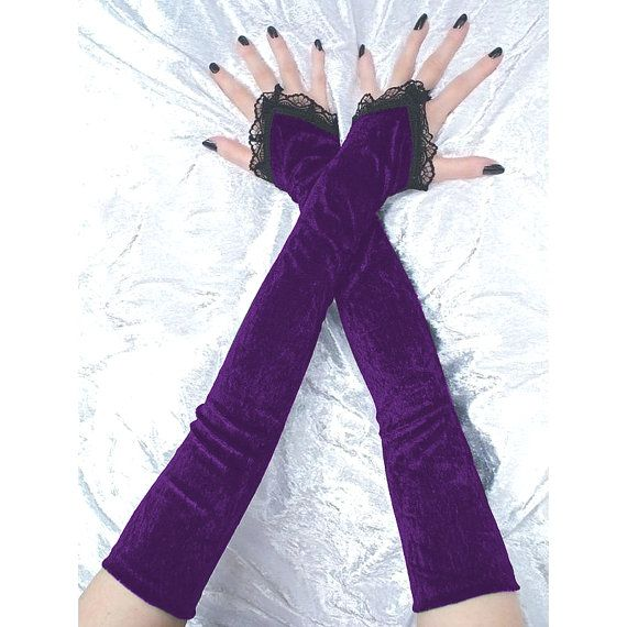 Black and purple long fingerless gloves arm by FashionForWomen