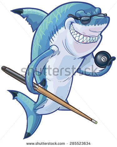 Vector Cartoon Clip Art Illustration Of A Tough Mean Smiling Shark Mascot Wearing Sunglasses And Holding An Eight Ball Pool Cue