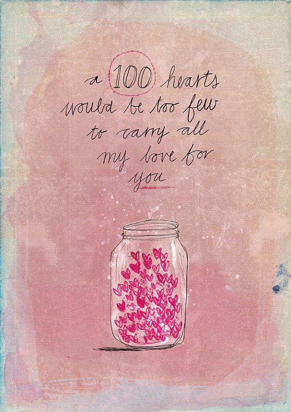 100 hearts archival art print by lovelysweetwilliam