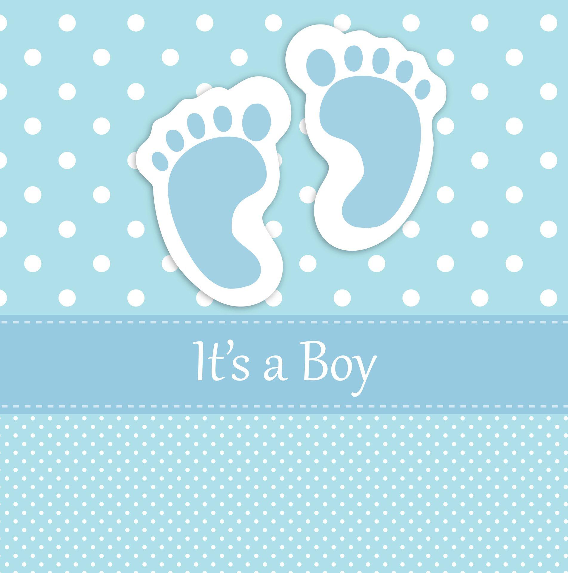 Huellas del beb tarjeta etiket pinterest babies baby cards blue polka dots baby boy footprints card template for scrapbooking voltagebd Image collections