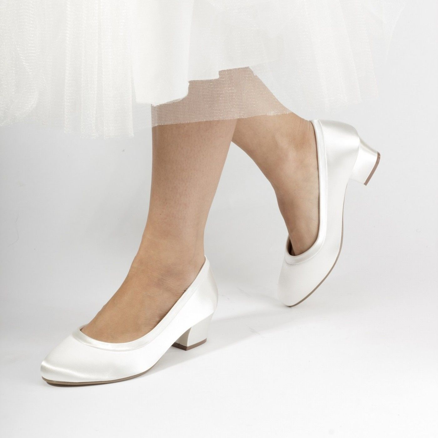 Favour By Pink Paradox London Dyeable Ivory Satin Wide Fit Wedding Shoes