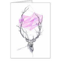 Rotwild und geometrisches Herz des Rosas, das Grußkarte | Zazzle
