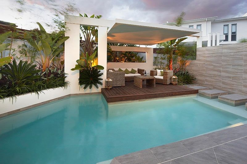 Garden Pool Area Landscaping Ideas Backyard Modern Custom Pool Area Undercover Patio Lounge With