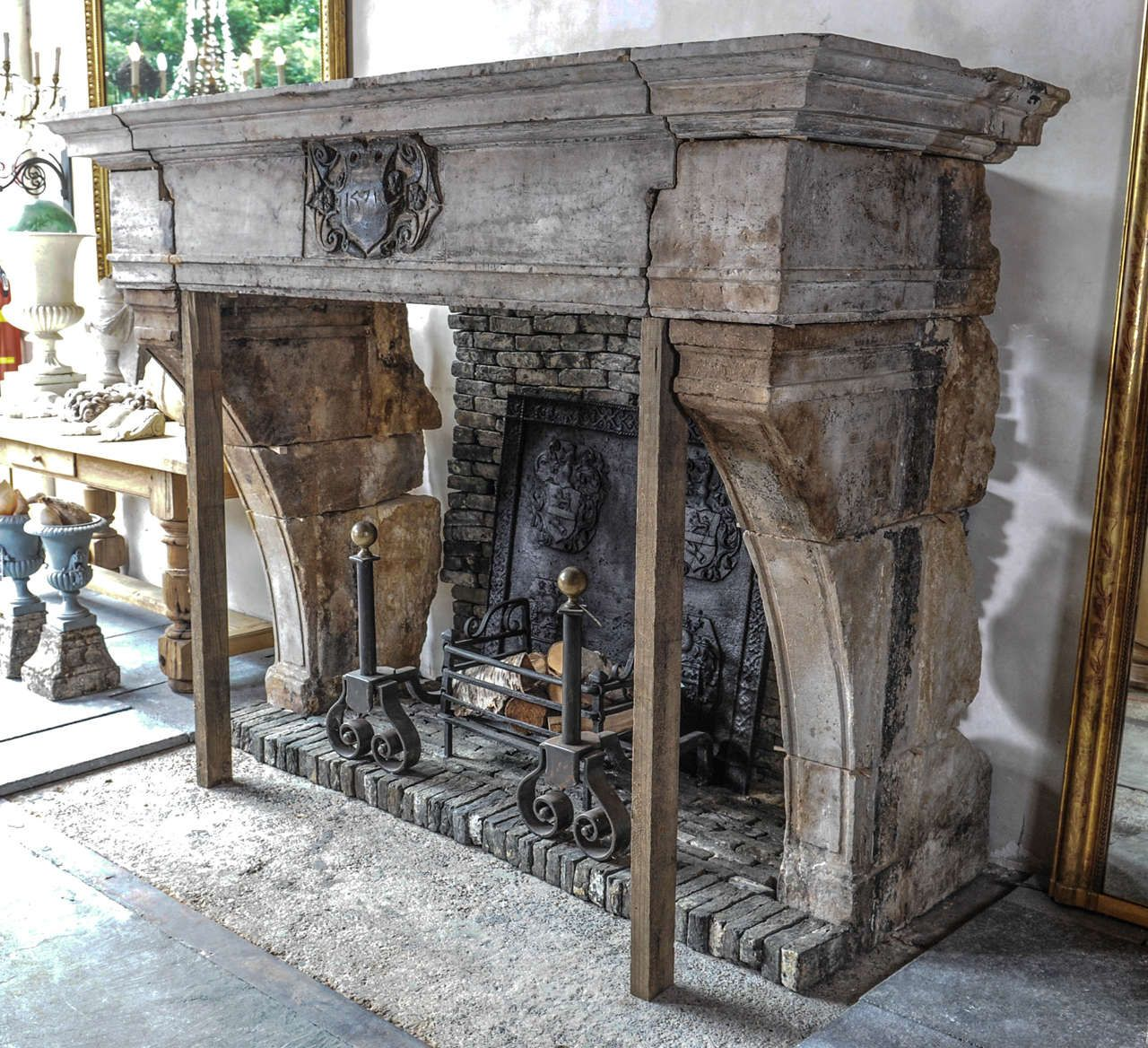 A Spectacular French Castle Fireplace From Hard French Stone With Grey Original Patina The Antique French Fireplaces Stone Fireplace Designs French Fireplace
