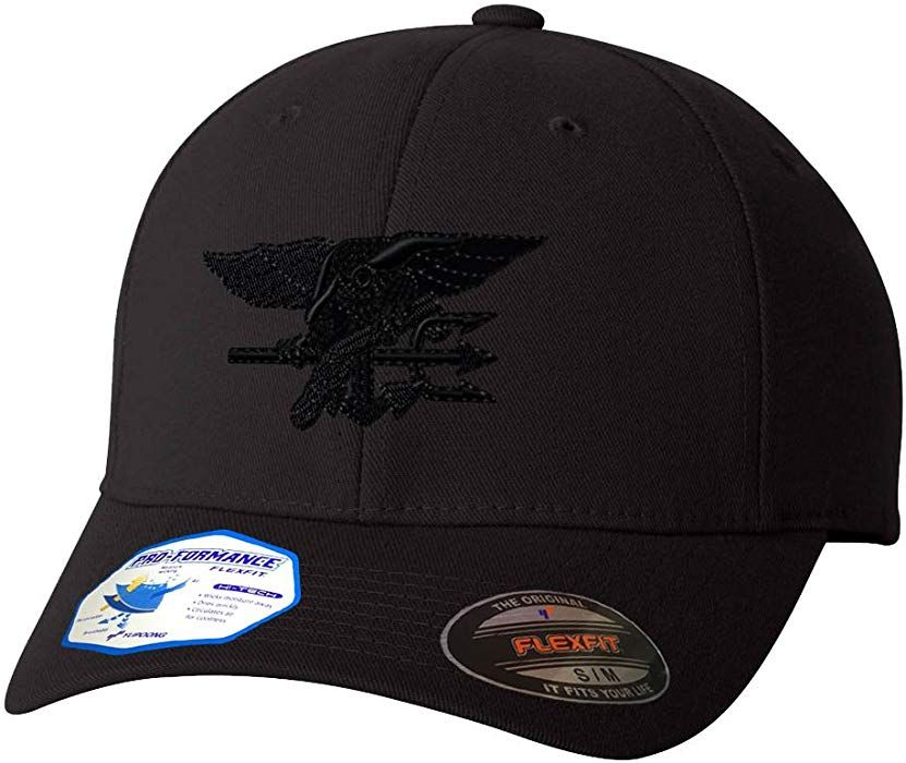 1f81d51a Amazon.com: Navy Seal Black Logo Flexfit Pro-Formance Embroidered Cap Hat  Black Large/X-Large: Clothing