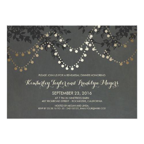 String Lights Rehearsal Dinner Invitation Black Card White Ink