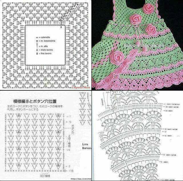Vestido nena crochet verde y rosa | mile | Pinterest | Nena, Verde y ...