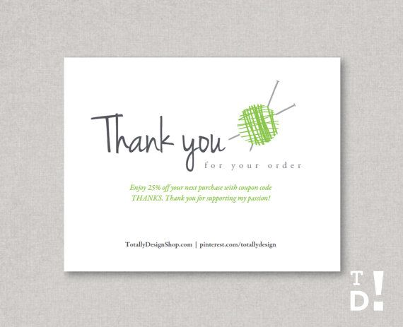 Editable Thank you for your order printable by totallydesign ...