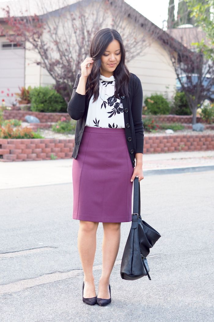 business casual outfit purple pencil skirt a4d4ce520b