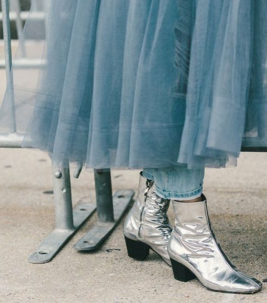Silver metallic booties, as seen on Susie Bubble. // The Best Street Style Inspiration From New York Fashion Week: (http://www.racked.com/2015/9/11/9309889/nyfw-street-style#4834070)