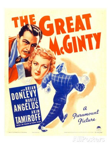 The Great Mcginty (Aka Down with Mcginty), Brian Donlevy, Muriel Angelus on Window Card, 1940 Premium Poster