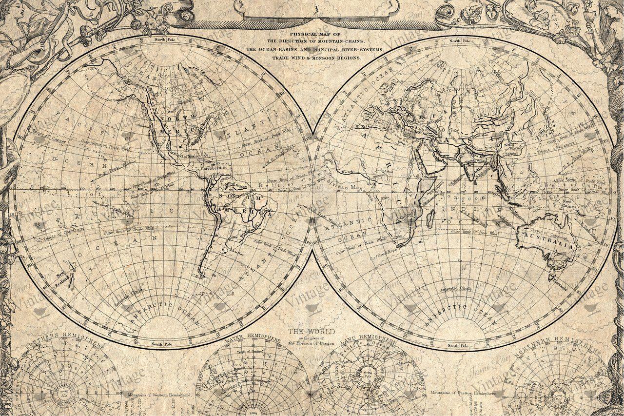 World Map | Jami Ray Vintage Decoupage Paper