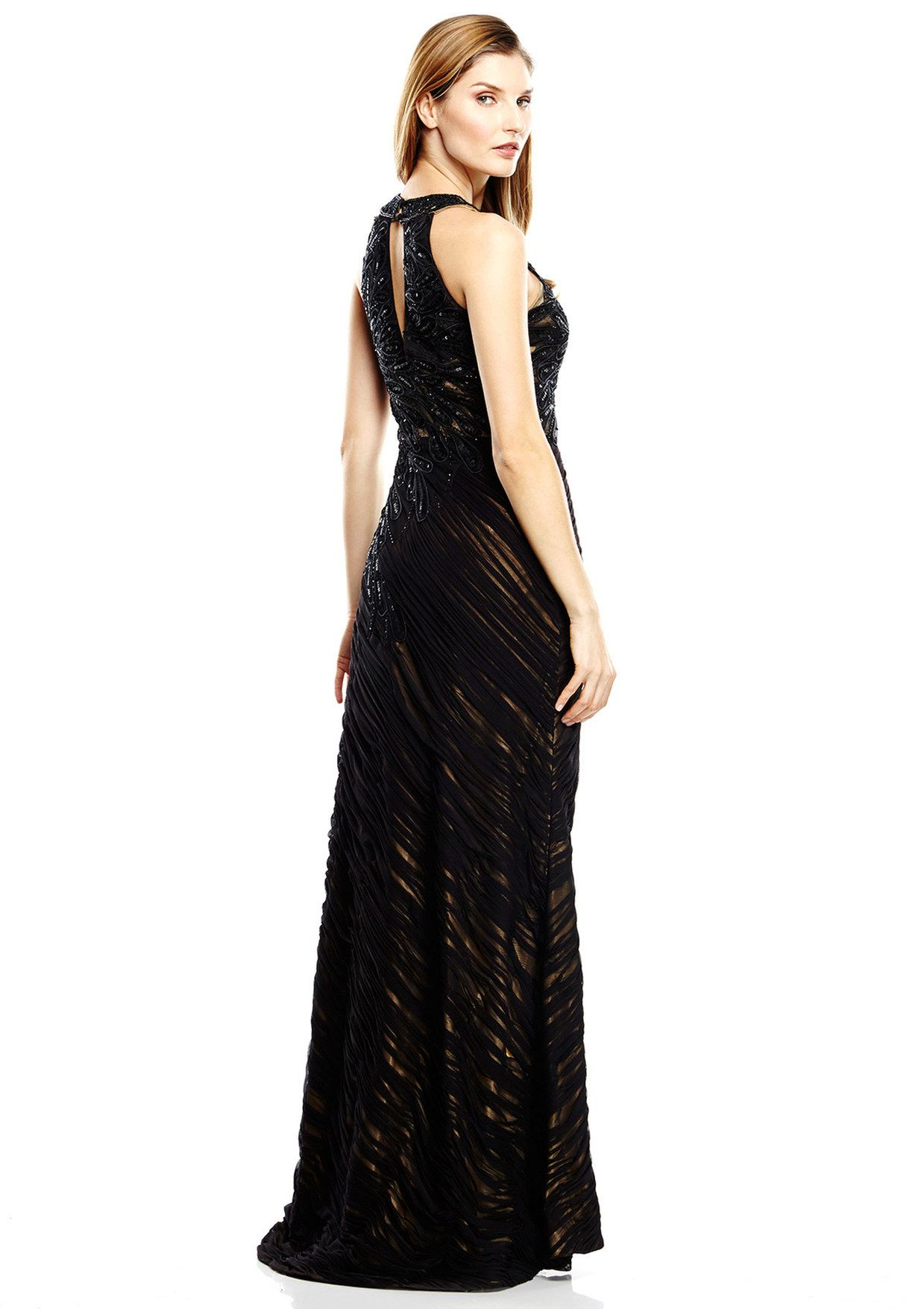 Sish ideel sue wong allover applique gown with keyhole