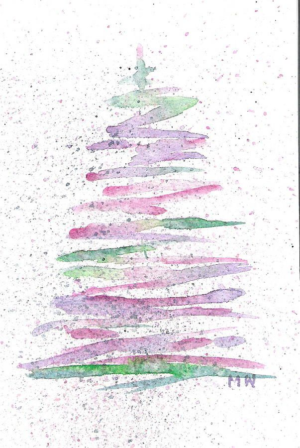 Abstract Christmas Tree By Marsha Woods Watercolor Christmas Cards Christmas Tree Canvas Christmas Tree Art