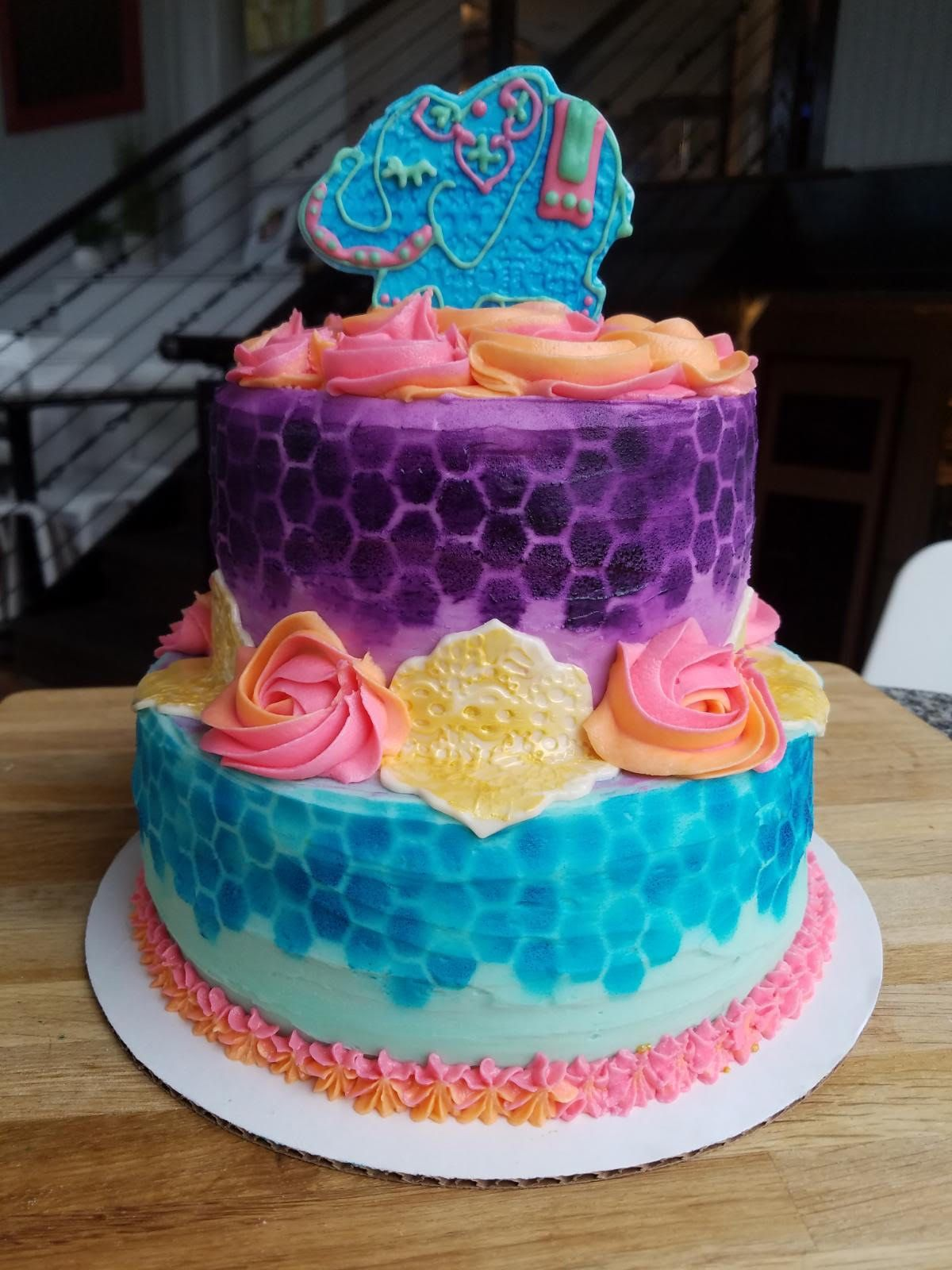 Morrocan baby shower themed cake. Twotiered, twolayered