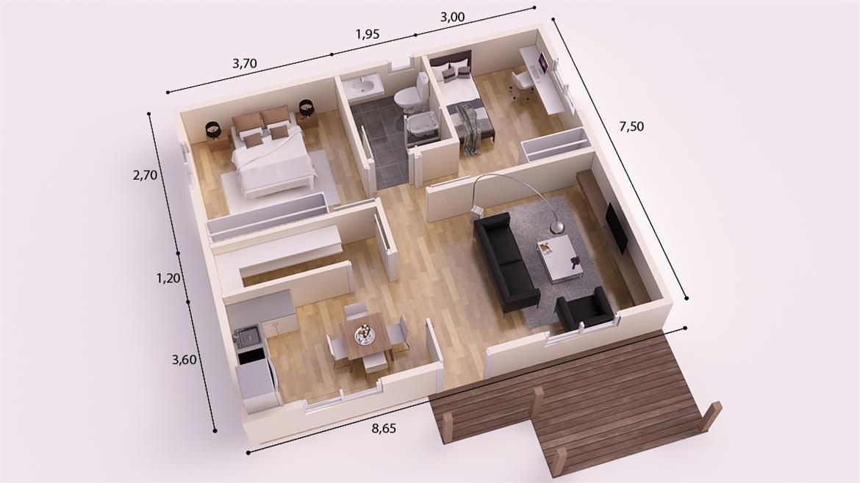 Lugo donacasa 70m2 casas de entramado ligero donacasa for Apartment design 70m2
