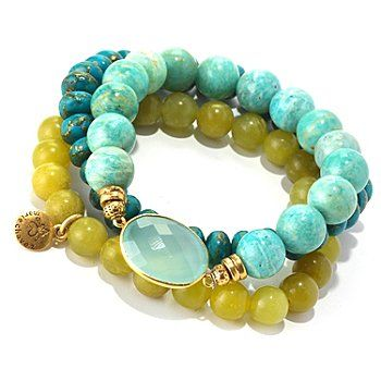 mariechavez Set of Three Genuine Multi Gemstone Beaded Bracelets