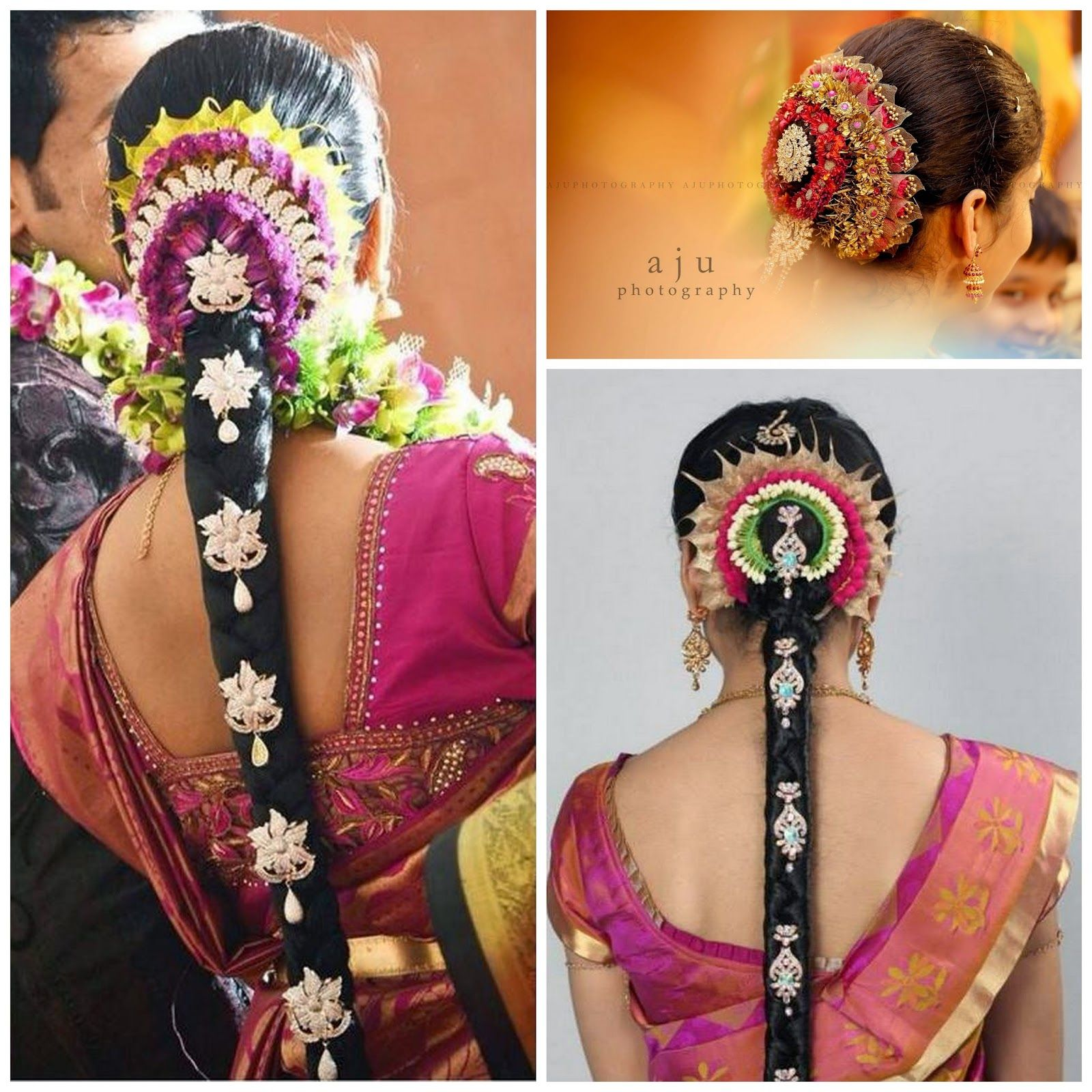 SouthIndian Bridal Hairstyles with flowers   Short wedding ...