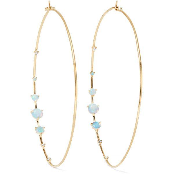 Wwake Big Counting 14-karat Gold, Opal And Diamond Hoop Earrings