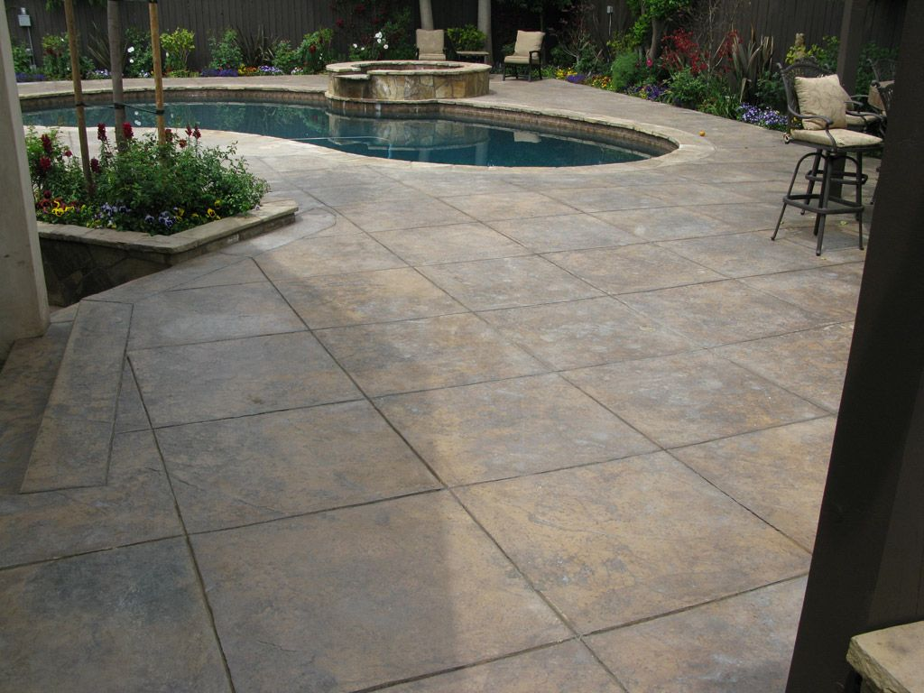 Imposing Stamped Concrete Backyard Ideas Concrete Backyard