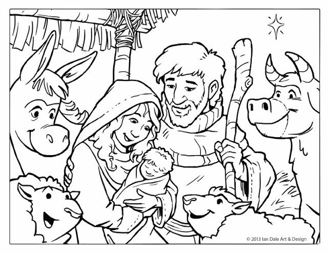 Free Christmas coloring page craft for kids - Nativity Scene by Ian - new coloring pages of baby jesus in the stable