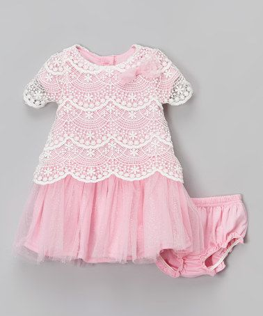Look what I found on #zulily! Pink & White Lace Dress & Diaper Cover - Infant #zulilyfinds