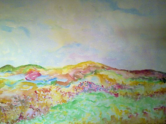 Original watercolor on canvas  Abstract landscape  art for