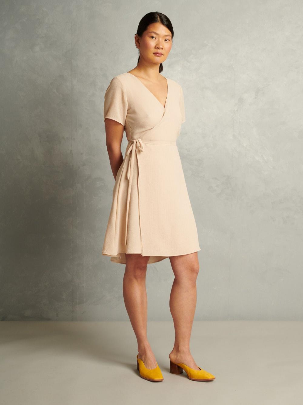 Lightweight Wrap Dress With T Shirt Sleeve Buttercream Etsy Wrap Dress Trending Outfits Dresses [ 1333 x 1000 Pixel ]