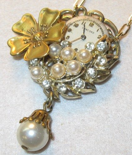 Photo of Steampunk Upcycled Vintage Pendant Necklace with Pearls and Crystals