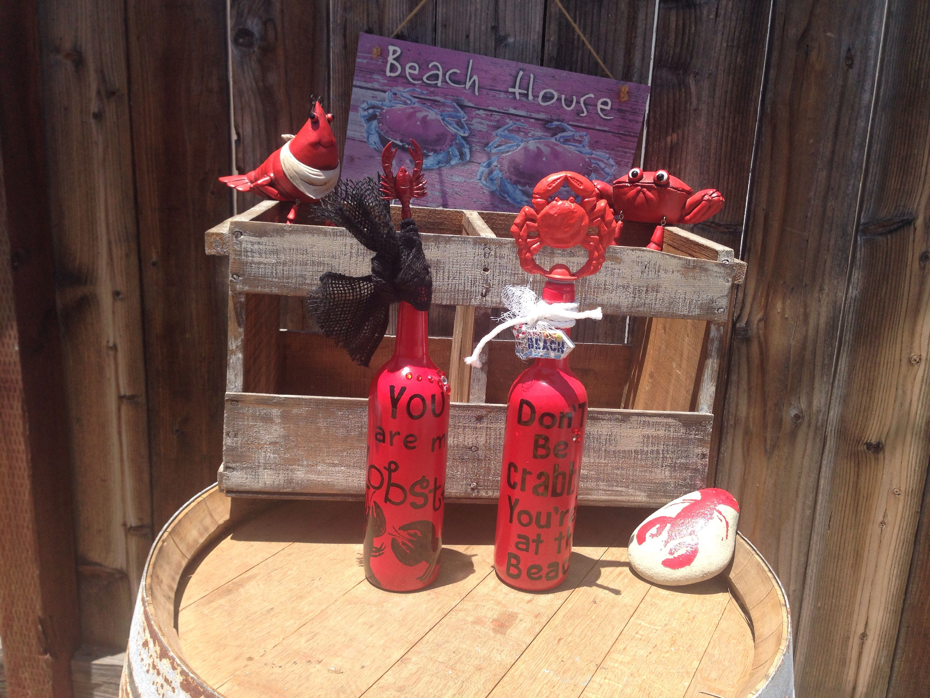 Crab And Lobster Wine Bottle Candelabras Handcrafted Wine Bottle Opener Wall Vintage Bottles