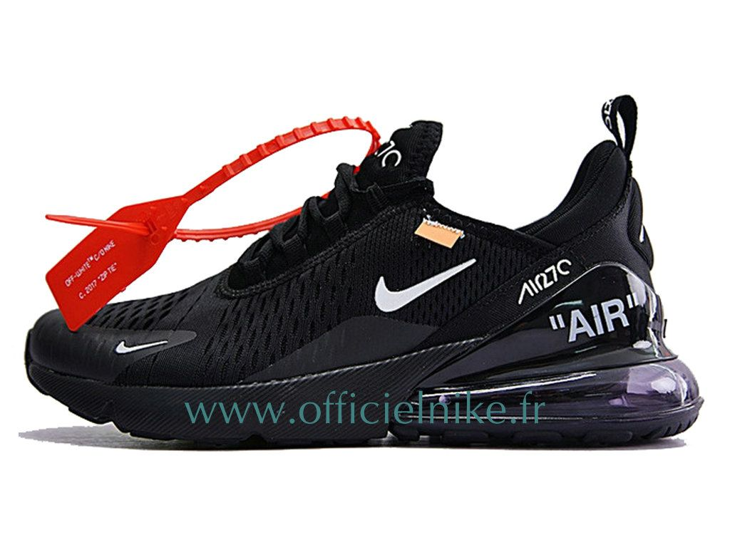 on sale 352ee 54732 Homme Femme Enfant Chaussure Officiel Off-White Nike Air Max 270 Noir Blanc