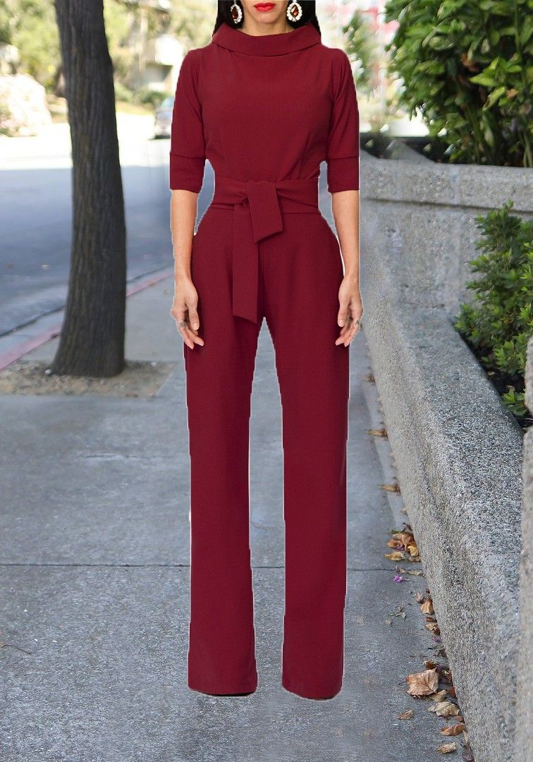 414cd5e80f4 Burgundy Sashes Formal Elbow Sleeve High Waisted Party Wide Leg Long  Jumpsuit