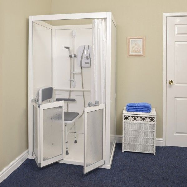 Cubicle With Single Bi Fold Doors Open No Roof Accessible Shower Bifold Doors Shower Tray