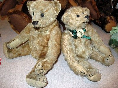 1908 German Steiff and 1904 American Ideal bear wearing his Roosevelt campaign pin.
