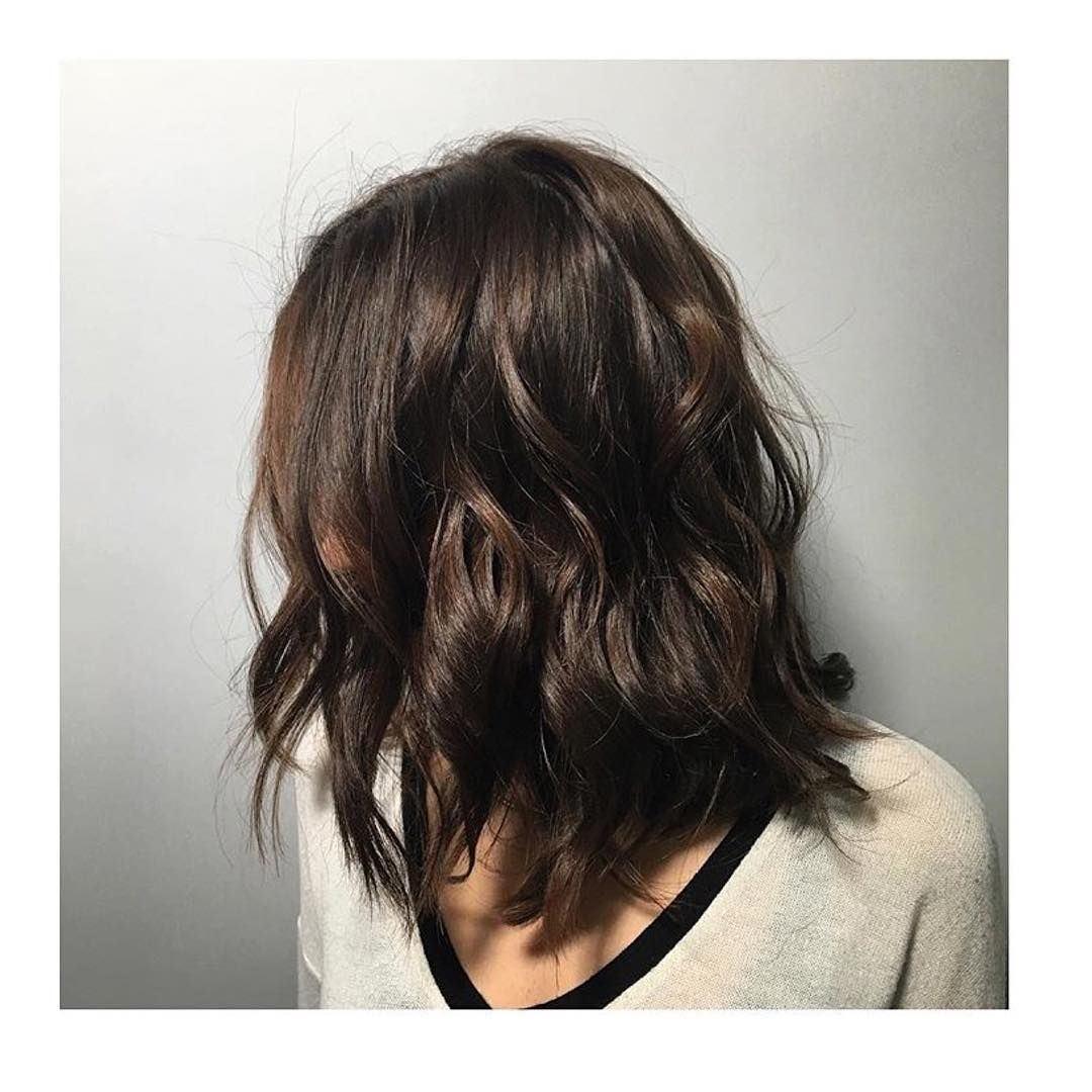 Medium Length Chocolate Brown Wavy Lob In 2019 Chocolate