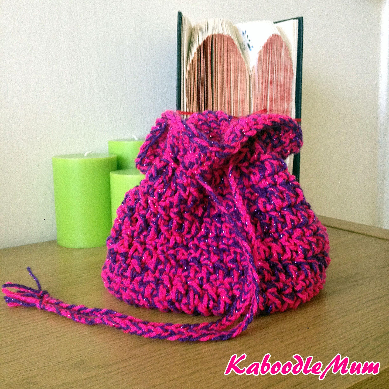 Crochet; 25 round Drawstring bag! | Free crochet bag, Free crochet ...