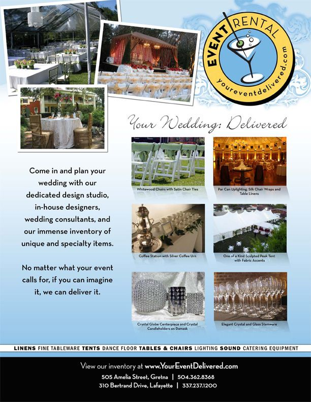 Your Wedding Delivered\ - party rental flyer