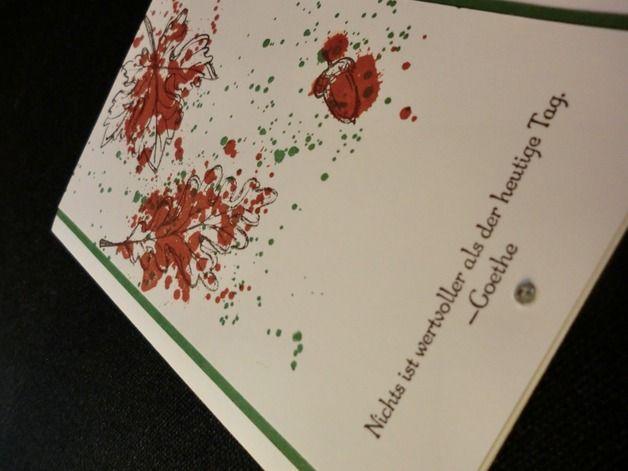 Grüße - Herbstkarte mit schönem Goethe-Spruch - ein Designerstück von kreativesherzerl bei DaWanda