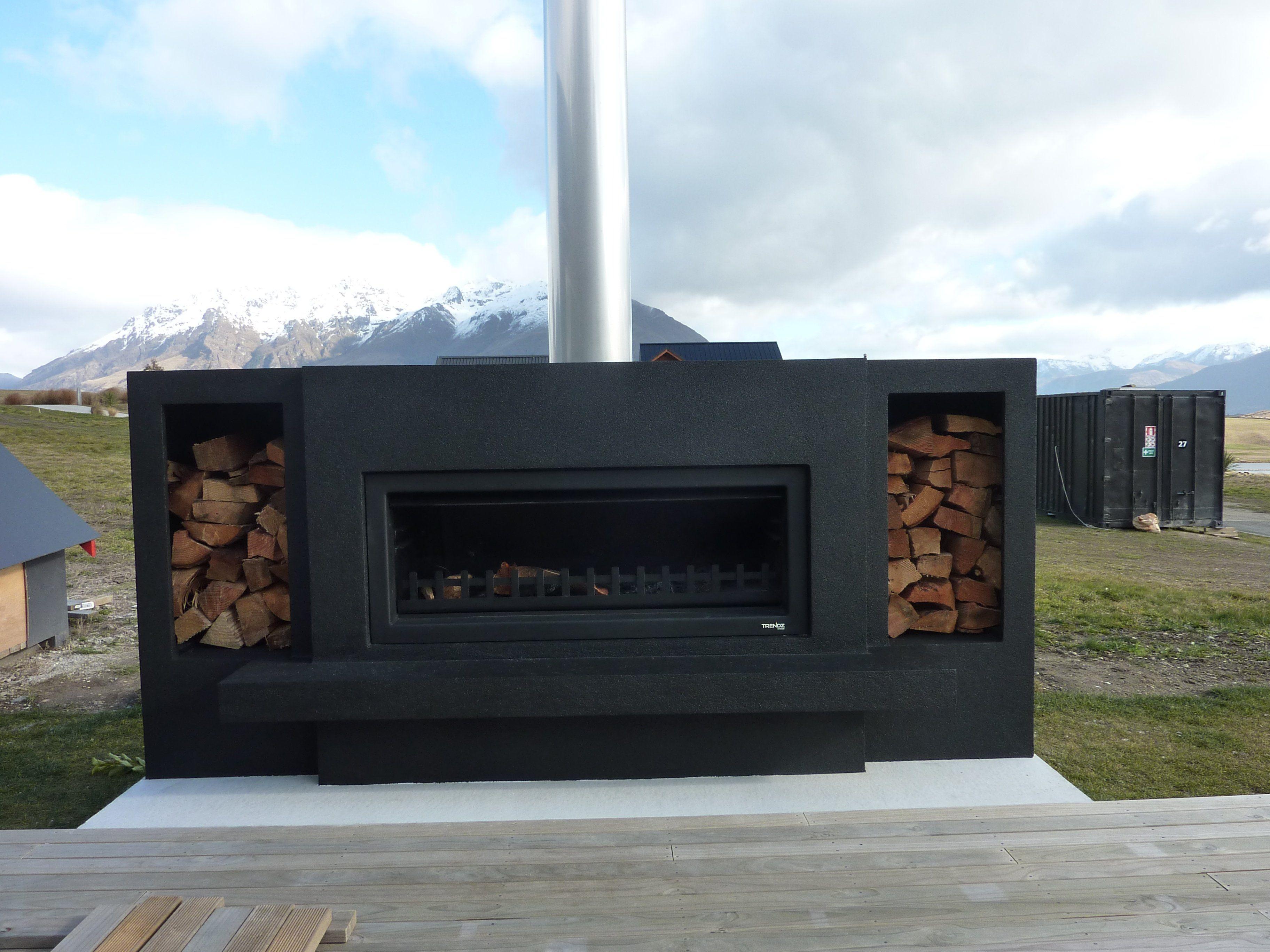 black-burton-wood-box-steel-chimney-flue-silver-queenstown ...