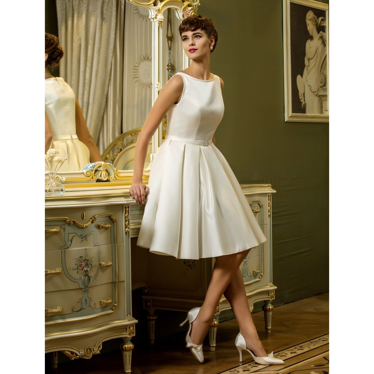 Knee length vintage wedding dresses  Aline Bateau Kneelength Satin Wedding Dress With Draping  Retro