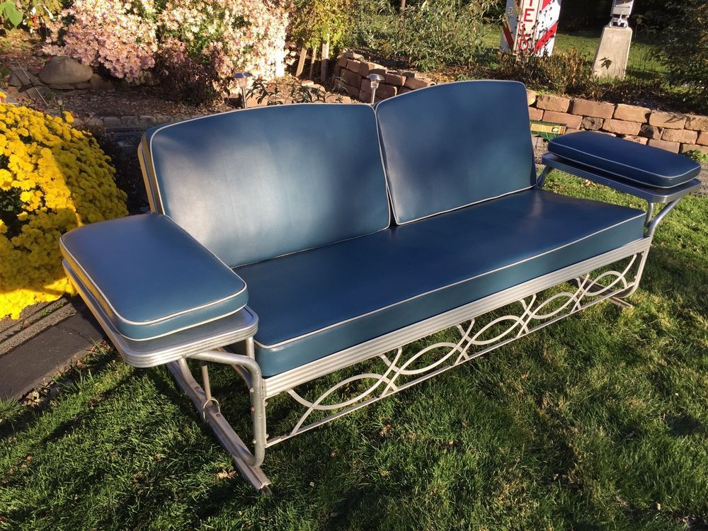 Vintage Aluminum Porch Glider Swing Bed With Blue Cushions Mid