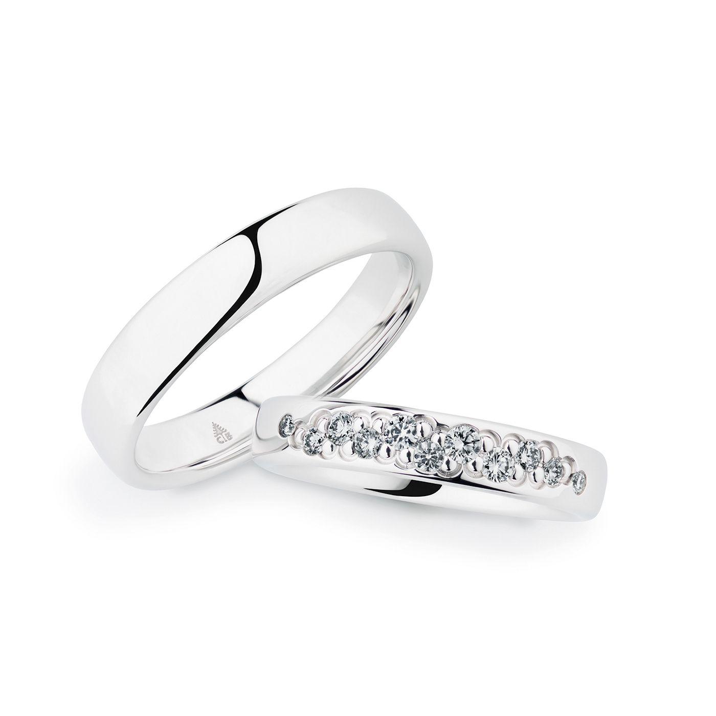 Außergewöhnliche Fassung der Diamanten! Tolle Eheringe aus