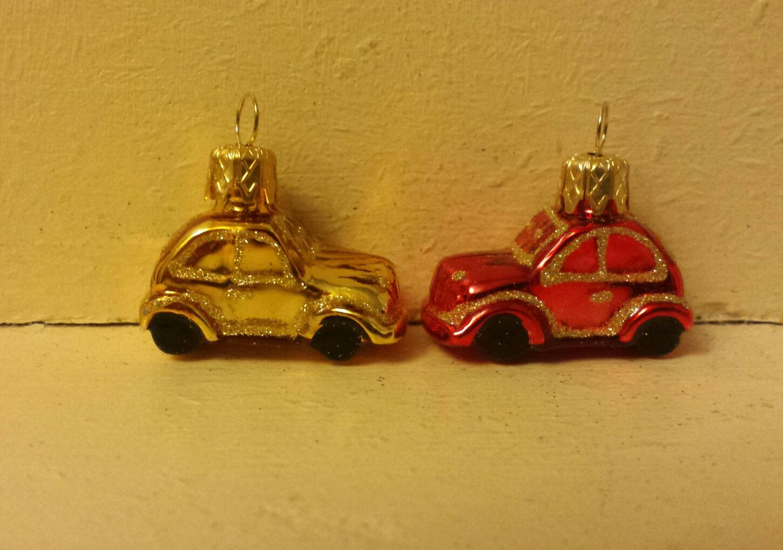 5 Mini Blown Glass Cars Christmas Tree Ornament Decorations Or