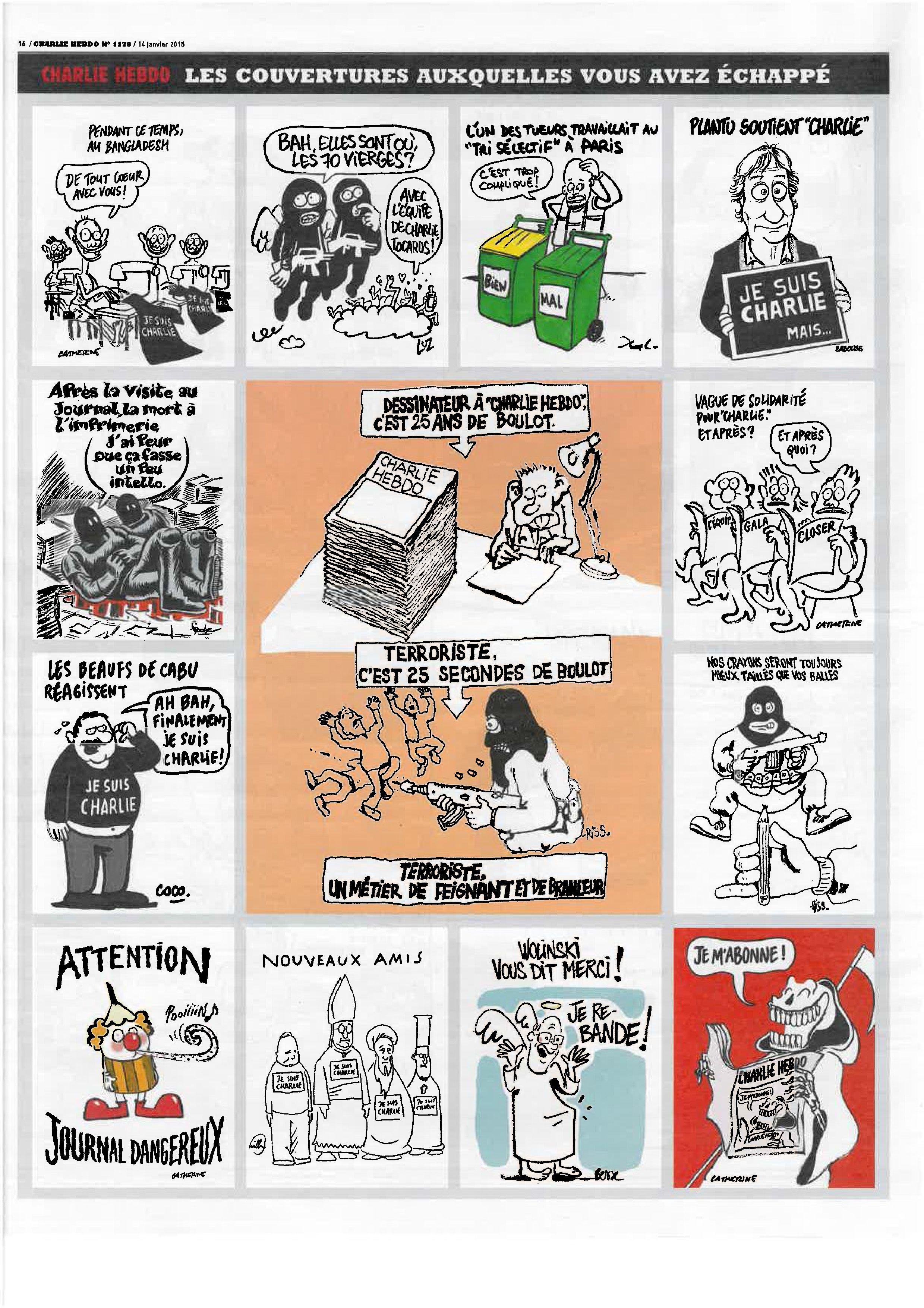 Pag 16 - Tutto il nr 1178 del 14 gennaio di Charlie Hebdo può essere scaricato liberamente da http://laduendes.blogspot.it/2015_01_01_archive.html