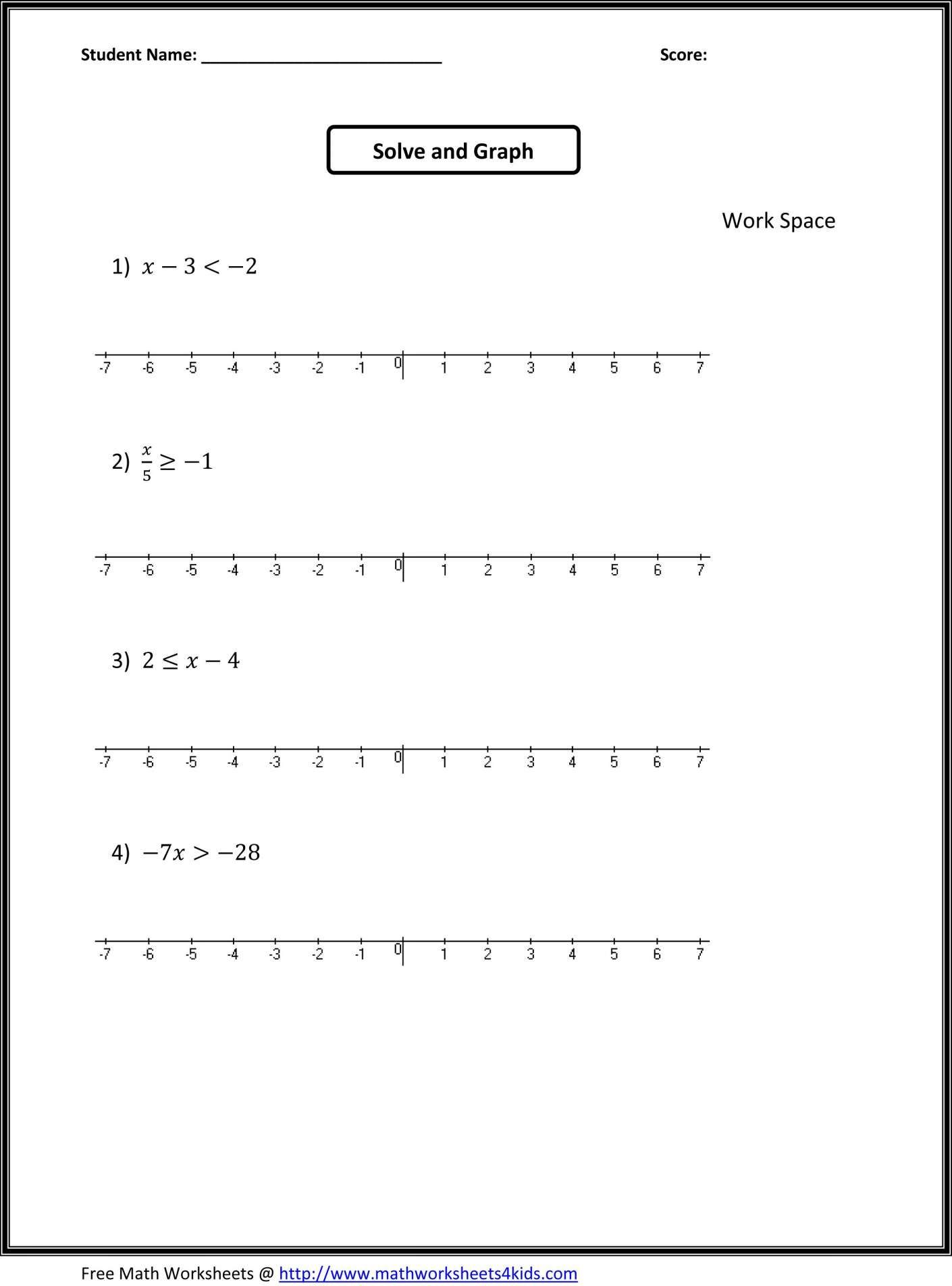 11 Algebra Worksheet 7th Grade