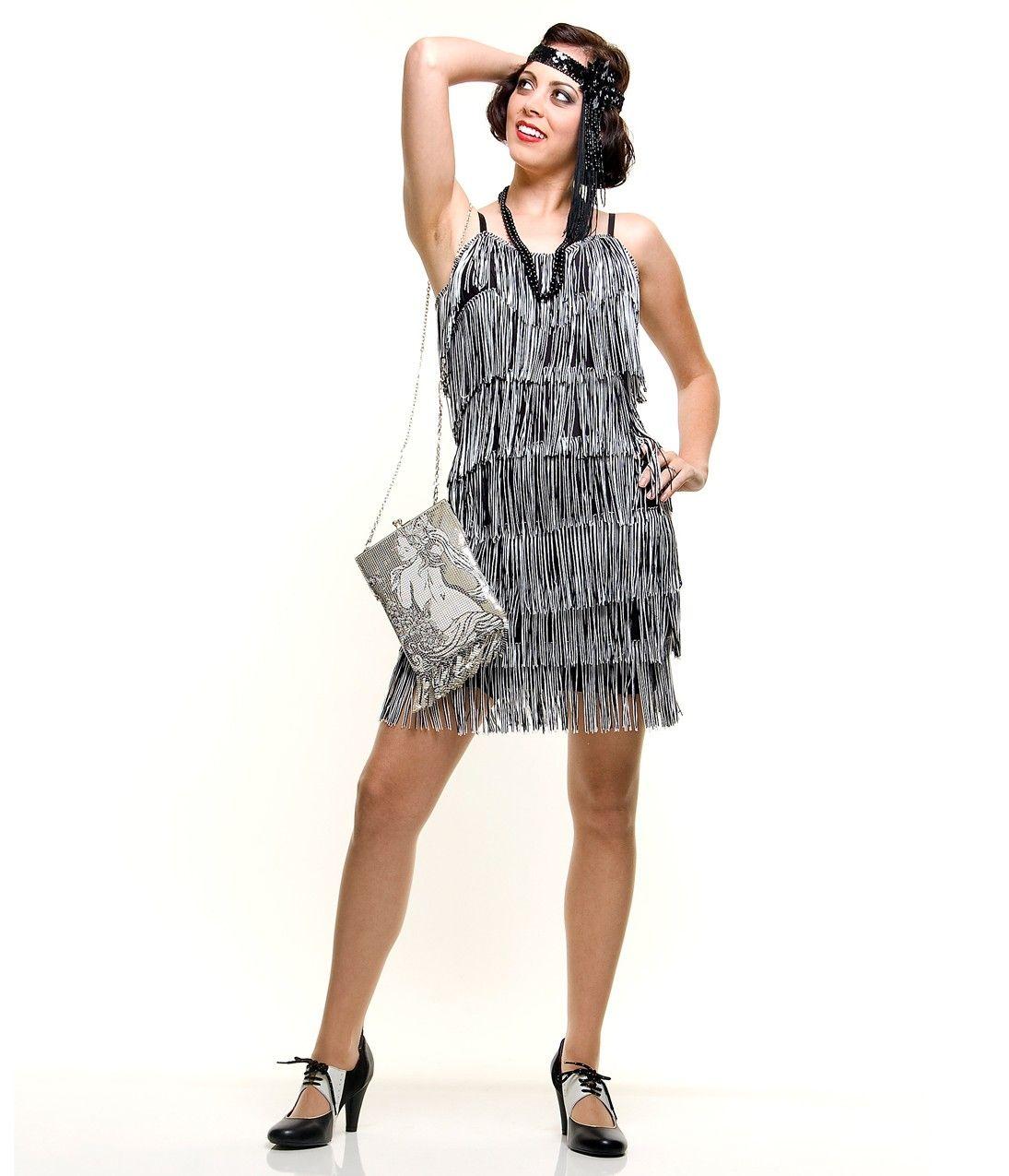 1920s Style Black & White Fringe Flapper Dress. | 1920s ...