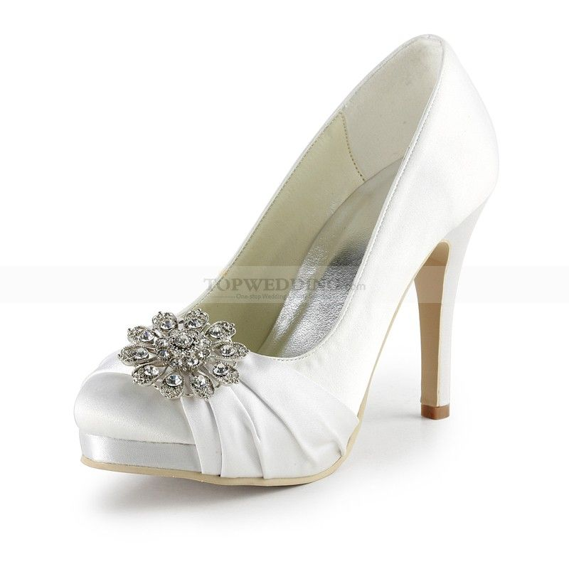 Rhinestone Flower White Satin Platform Wedding Pumps My Wedding