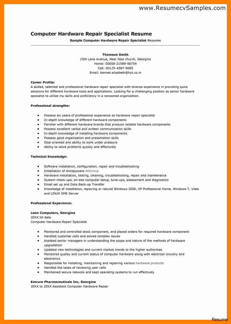 Amazing Resume Computer Repair Technician Photos Resume Ideas Namanasa